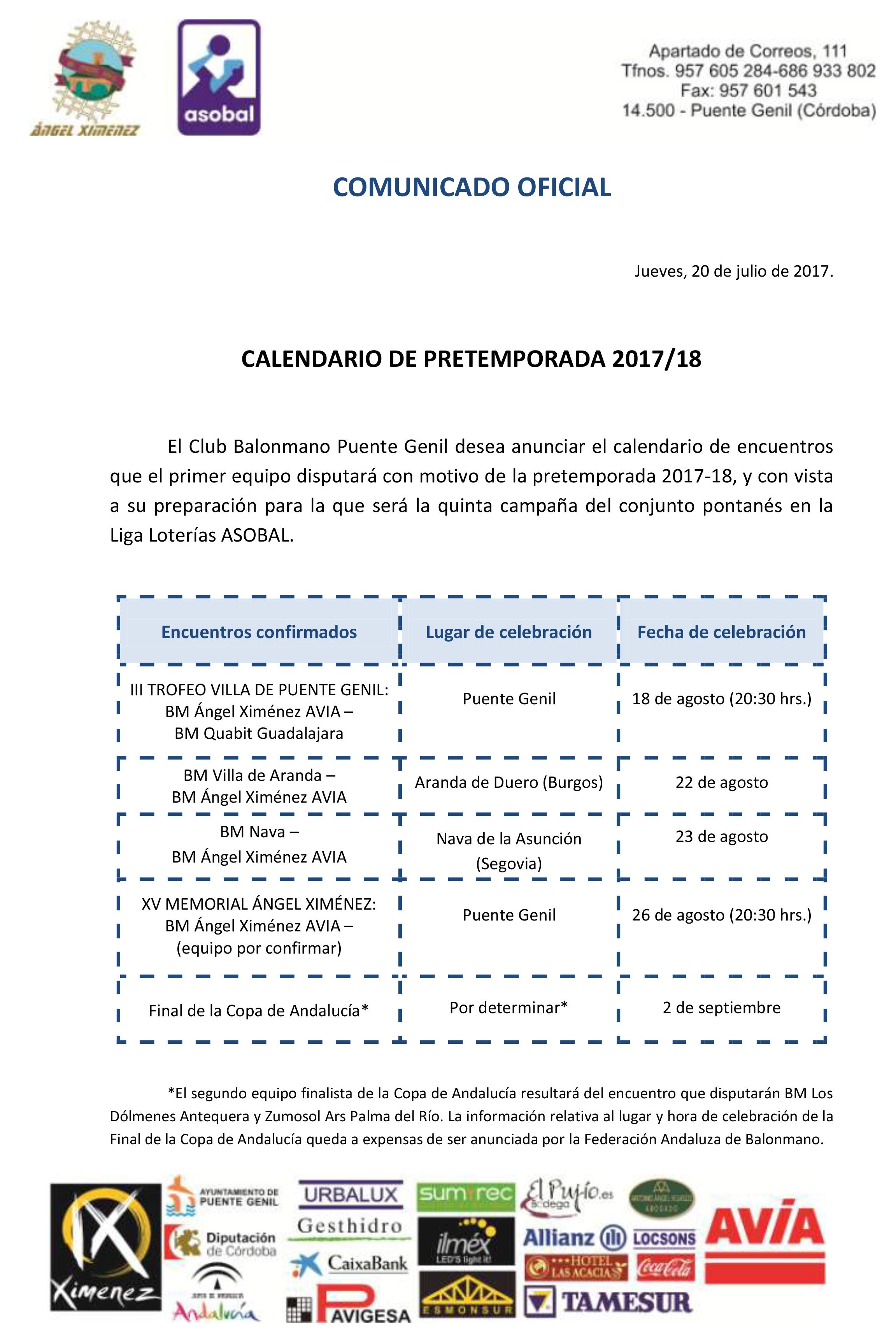 CALENDARIO DE PRETEMPORADA 2017/18 – BM ANGEL XIMENEZ AVIA PUENTE GENIL